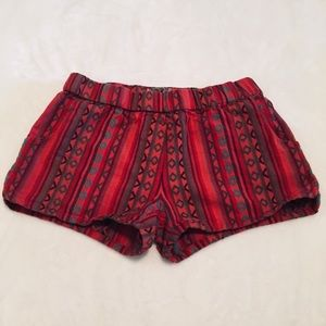 Urban Outfitters | Red Embroidered Cotton Shorts